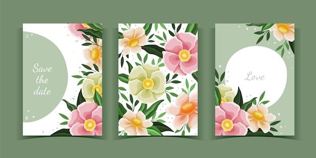Handgetekende bloemenkaarten collectie