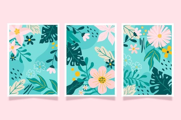 Handgetekende bloemenkaarten set