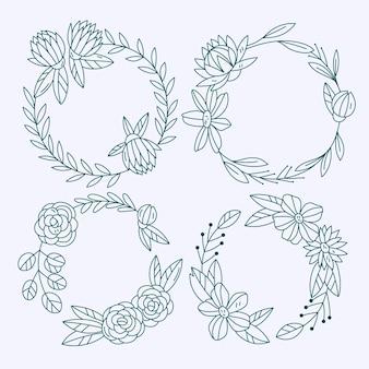 Handgetekende bloemenkransen collectie