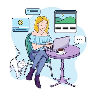 Handgetekende blogger met laptop