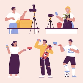 Handgetekende bloggers met plat ontwerp