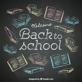 Handgetekende boeken op het schoolbord