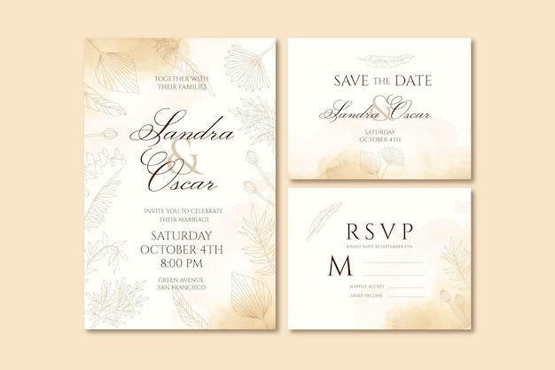 Handgetekende boho bruiloft briefpapier sjabloon