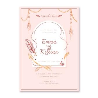 Handgetekende boho bruiloft uitnodiging sjabloon