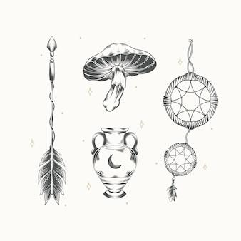 Handgetekende boho-elementencollectie graveren