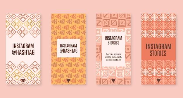 Handgetekende boho instagram verhalencollectie