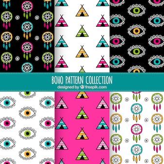 Handgetekende boho patronen met gekleurde elementen