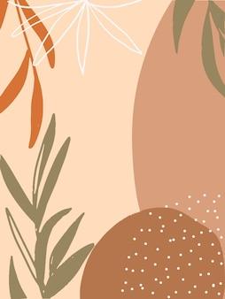 Handgetekende boho-stijl tropische achtergrond voor banner social media verhaal uitnodigingskaartpapier