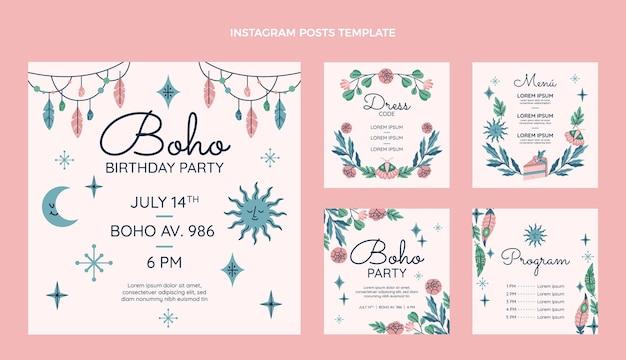 Handgetekende boho verjaardag instagram posts collectie