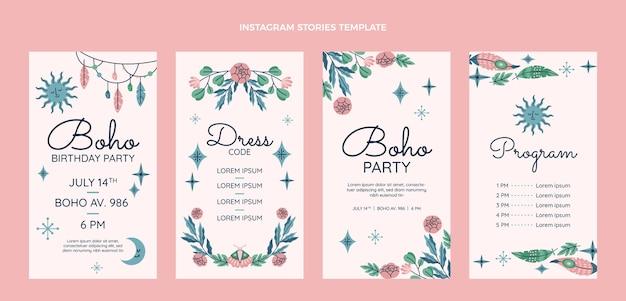 Handgetekende boho verjaardag instagram verhalencollectie