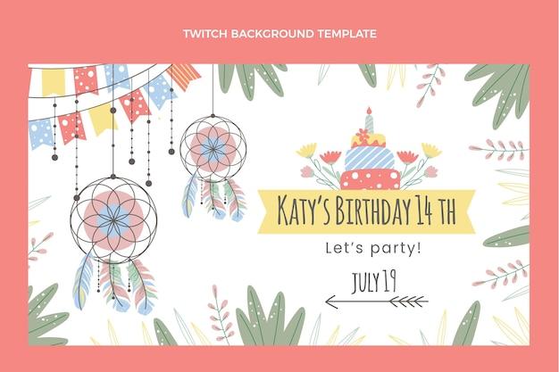 Handgetekende boho verjaardag twitch achtergrond