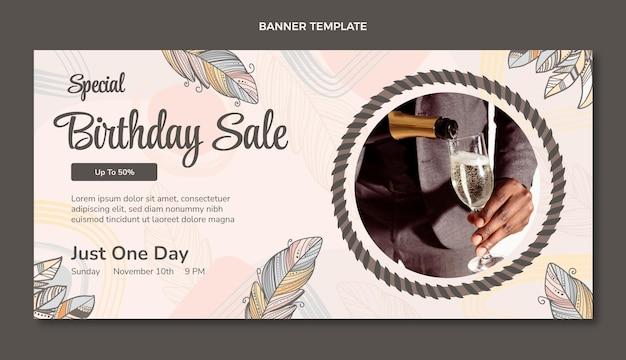 Handgetekende boho verjaardag verkoop achtergrond