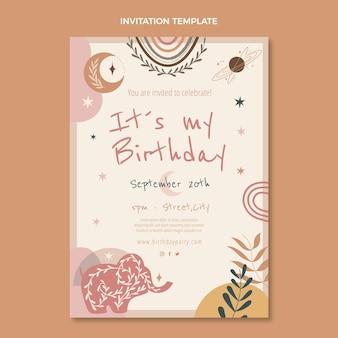 Handgetekende boho verjaardagsuitnodiging met tekening