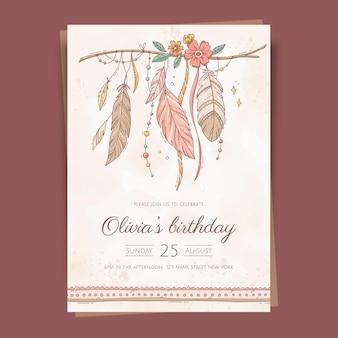Handgetekende boho verjaardagsuitnodiging sjabloon