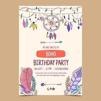 Handgetekende boho verjaardagsuitnodiging