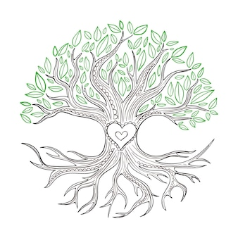 Handgetekende boom levensstijl