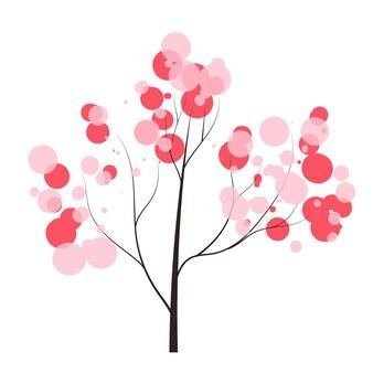Handgetekende boom met tedere bellenkroon lente bos doodles vector seizoen winter lente zomer