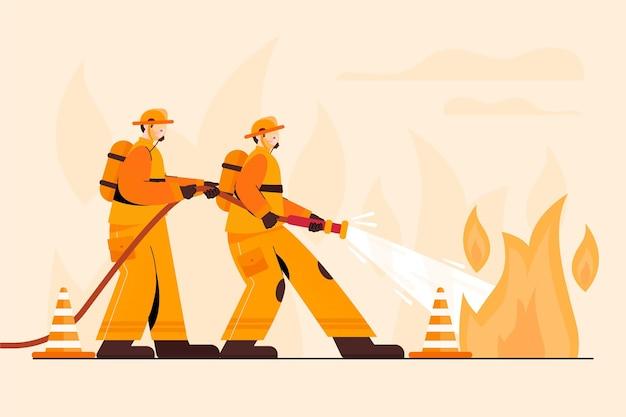 Handgetekende brandweerlieden die een brand blussen