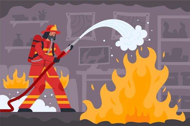 Handgetekende brandweerman blussen van een brand