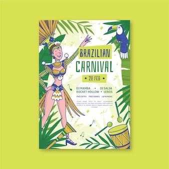 Handgetekende braziliaanse carnaval poster sjabloon thema