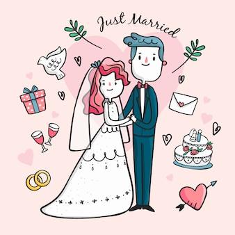 Handgetekende bruidspaar geïllustreerd