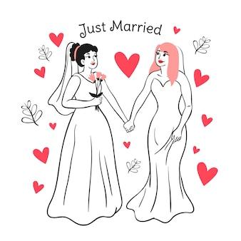 Handgetekende bruidspaar