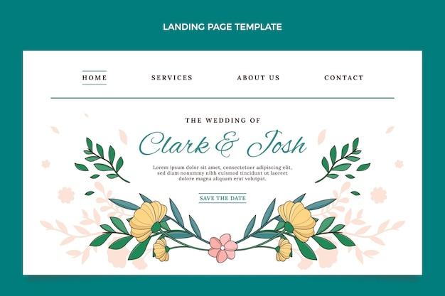 Handgetekende bruiloft bestemmingspagina sjabloon