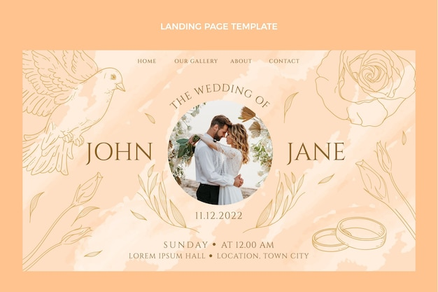 Handgetekende bruiloft bestemmingspagina