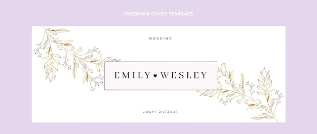 Handgetekende bruiloft facebook omslag Gratis Vector