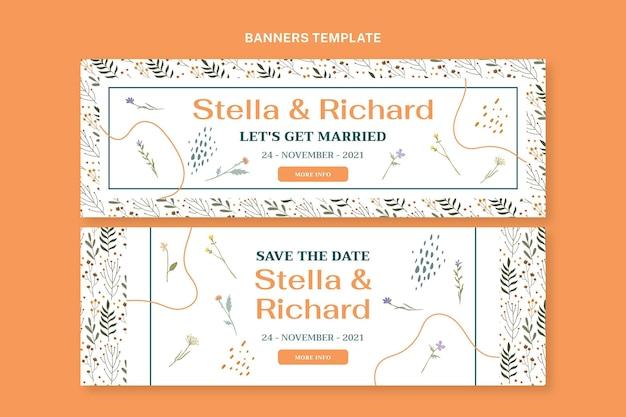 Handgetekende bruiloft horizontale banners