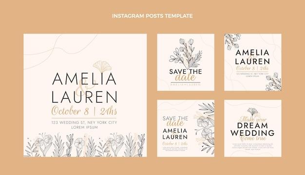 Handgetekende bruiloft ig post