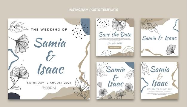 Handgetekende bruiloft instagram posts