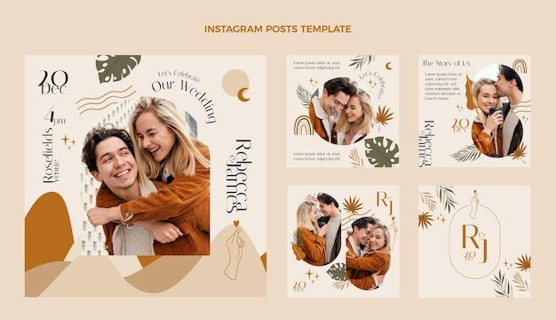 Handgetekende bruiloft instagram postverzameling