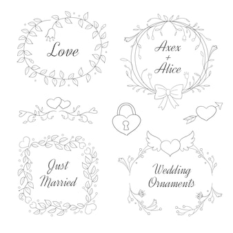 Handgetekende bruiloft ornament collectie