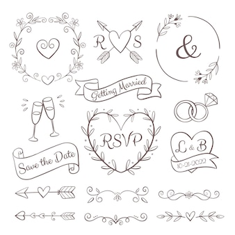 Handgetekende bruiloft ornamenten collectie
