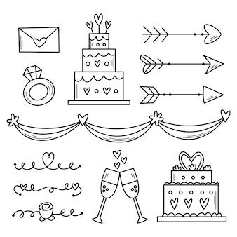 Handgetekende bruiloft ornamenten set