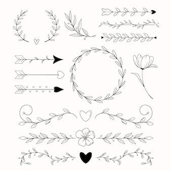 Handgetekende bruiloft ornamenten