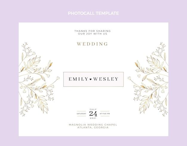 Handgetekende bruiloft photocall Gratis Vector