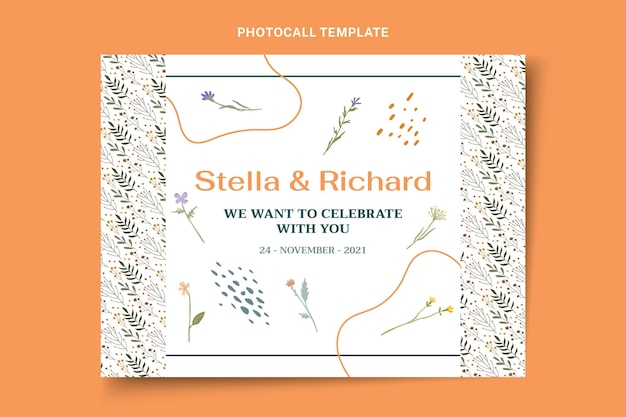 Handgetekende bruiloft photocall