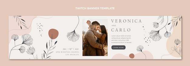 Handgetekende bruiloft twitch banner