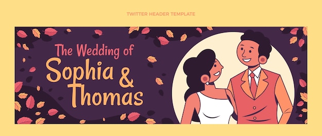 Handgetekende bruiloft twitter header-sjabloon