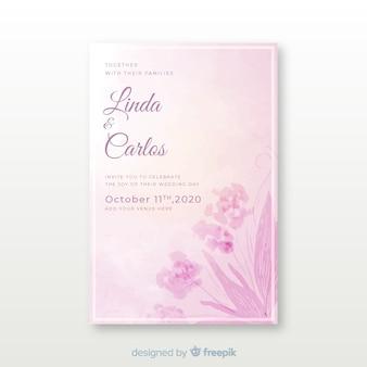 Handgetekende bruiloft uitnodiging sjabloon