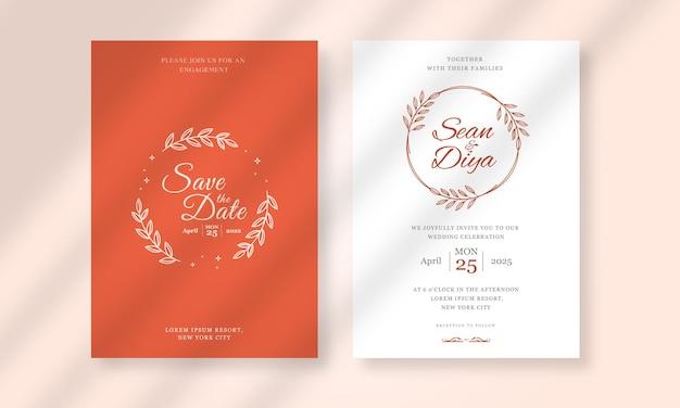 Handgetekende bruiloft uitnodigingskaartsjabloon met minimalistische lijntekeningen bloemenillustratie