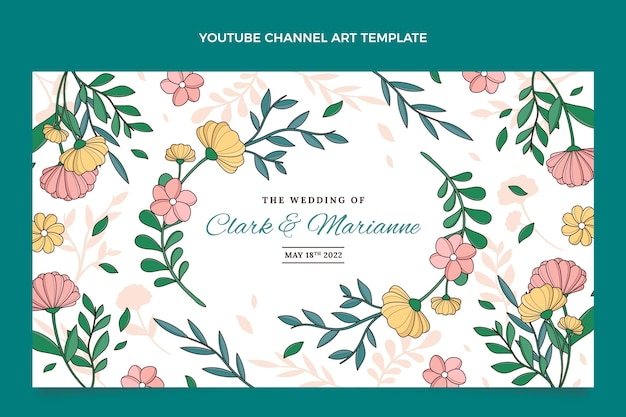 Handgetekende bruiloft youtube-kanaalafbeeldingen