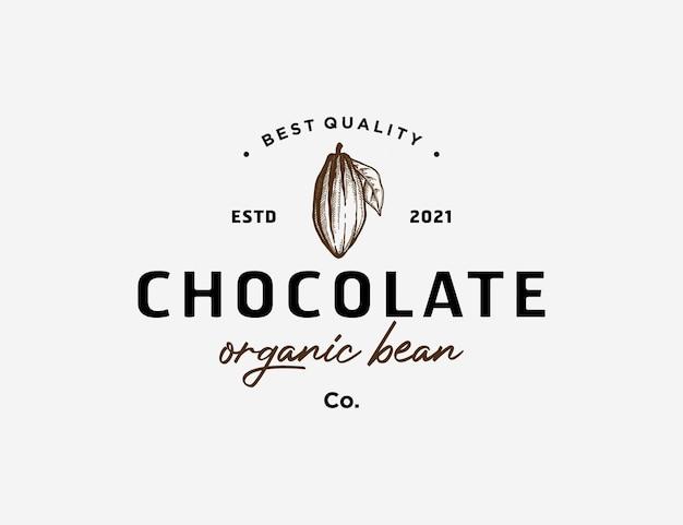 Handgetekende cacaoboon logo sjabloon