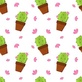 Handgetekende cactus in een pot. vector illustratie.
