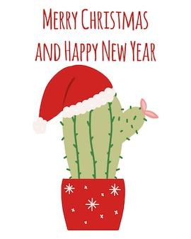 Handgetekende cactus in nieuwjaarshoed nieuwjaarscactus in pot belettering