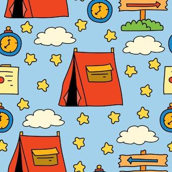 Handgetekende camper doodle cartoon patroon ontwerp