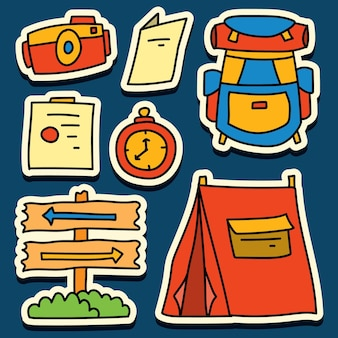 Handgetekende camper doodle cartoon sticker ontwerp