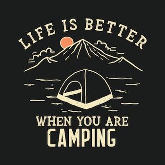 Handgetekende campingillustratie